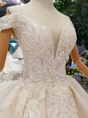 Luxurious Off-the-Shoulder Sequins Wedding Dresses | 2020 Beaidngs Lace Ball Gown Bridal Dresses BC1606_5