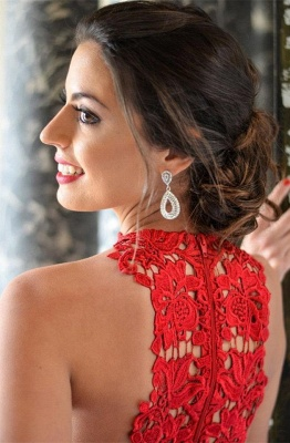 Sexy Red Lace Sleeveless Homecoming Dress 2020 Short Layers Cocktail Gowns_3
