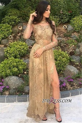 Gold Side-Slit High-Neck Long-Sleeves Sexy Appliques Tulle Prom Dresses BA8499_3