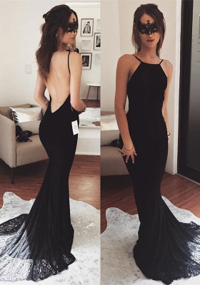 Sexy Black 2020 Prom Dress   Mermaid Lace Party Gowns_1