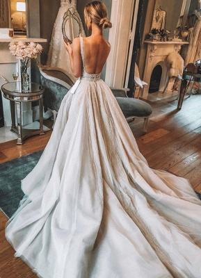 Chic V-Neck Sleeveless 2020 Wedding Dresses   Tulle Sequins Bridal Gowns With Slit BC1442_3