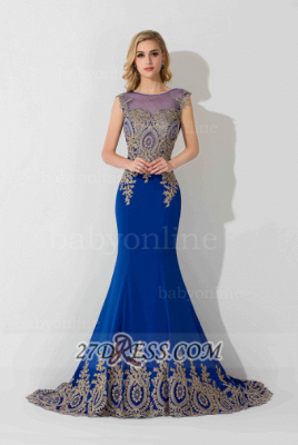 Sexy Illusion Cap Sleeve Mermaid Prom Dress Royal Blue Floor-length Appliques Evening Gown_7