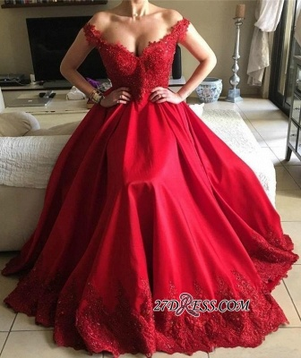 Off-the-Shoulder Red Prom Dresses | 2020 Lace Evening Gowns BA9340_3
