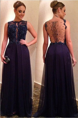 Elegant Beadings Lace Appliques Evening Dress 2020 A-line Floor-length_1