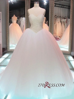 Sweetheart Pearls Princess Ball-Gown Glamorous Tulle Wedding Dress_2