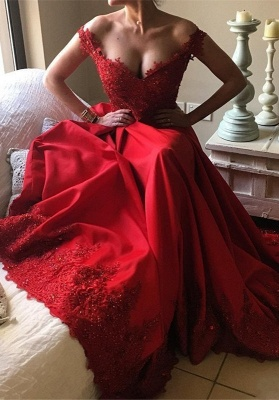 Off-the-Shoulder Red Prom Dresses | 2020 Lace Evening Gowns BA9340_4