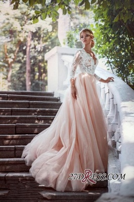 Lace Tulle V-Neck Pink Beautiful Long-Sleeve Zipper Wedding Dress_2