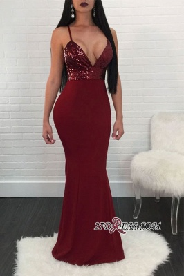 Spaghetti-strap Shiny Mermaid Sequin Floor-Length Prom Dress