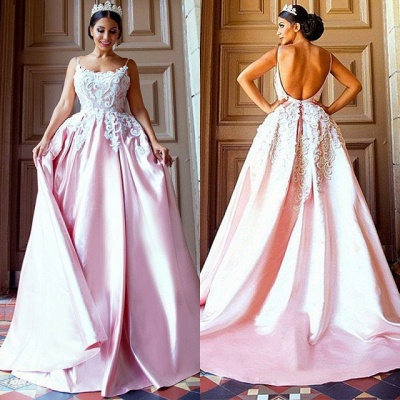 Gorgeous Pink Spaghetti-Straps Evening Dress | 2020 Mermaid Lace Prom Gown_2