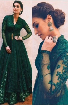 Long-Sleeve Green Evening Dress | 2020 Lace Prom Dress On Sale_1