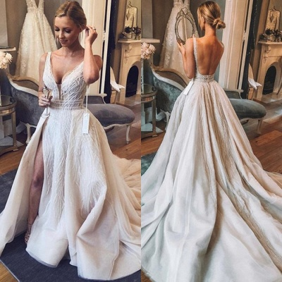 Chic V-Neck Sleeveless 2020 Wedding Dresses | Tulle Sequins Bridal Gowns With Slit BC1442_4