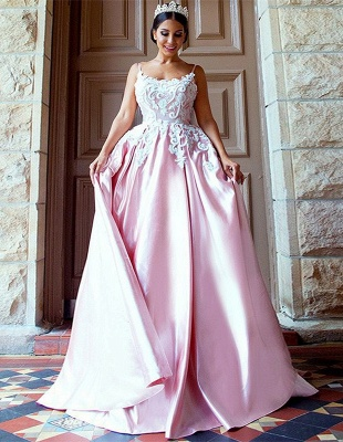 Gorgeous Pink Spaghetti-Straps Evening Dress | 2020 Mermaid Lace Prom Gown_1