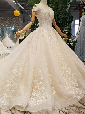 Luxurious Off-the-Shoulder Sequins Wedding Dresses | 2020 Beaidngs Lace Ball Gown Bridal Dresses BC1606_2