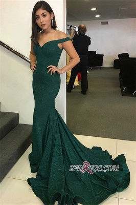 Elegant Dark Green Mermaid Prom dresses | Off The Shoulder Sexy Evening Dresses_1