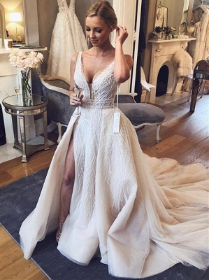 Chic V-Neck Sleeveless 2020 Wedding Dresses   Tulle Sequins Bridal Gowns With Slit BC1442_1