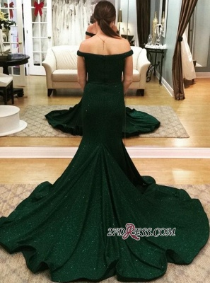 Elegant Dark Green Mermaid Prom dresses | Off The Shoulder Sexy Evening Dresses_2