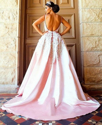 Gorgeous Pink Spaghetti-Straps Evening Dress | 2020 Mermaid Lace Prom Gown_3