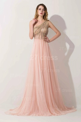 Lovely Pink One Shoulder 2020 Prom Dress Long Chiffon Lace_1
