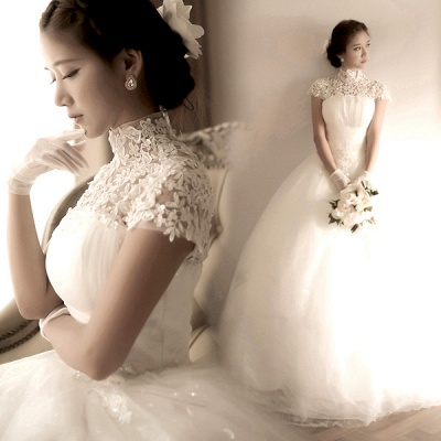 Elegant Tulle Lace Appliques 2020 Wedding Dress High Neck Ball Gown_3