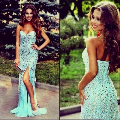 Luxurious Mermaid Crystals 2020 Prom Dress Front Split Sweep Train_2