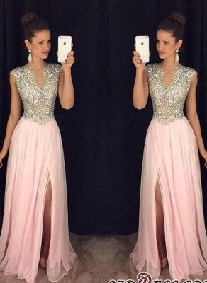 2020 A-line luxury Crystals Long Beaded Pink Front-Slit Prom Dresses AP0 BA4627_3
