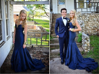 Gorgeous Sweetheart Navy Blue 2020 Evening Dresses Mermaid Sweep Train Prom Gowns_4