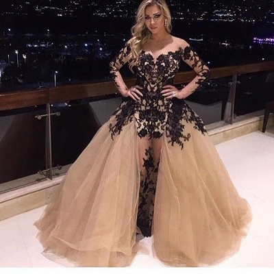 Glamorous Long Sleeve Black Appliques 2020 Prom Dress Tulle Ruffles Party Gowns BA8156_3