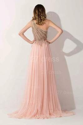 Lovely Pink One Shoulder 2020 Prom Dress Long Chiffon Lace_2