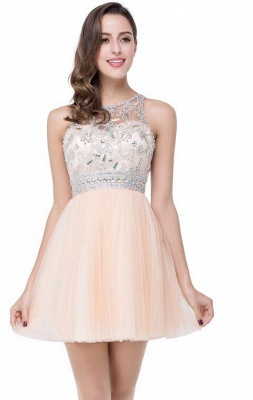 Elegant Beadings Crystal Short Prom Dress Chiffon Homecoming Gown_5