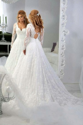 Arabic Long Sleeve Lace Appliques Bridal Gowns Sweetheart_3
