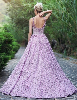 Elegant V-Neck Sleeveless 2020 Evening Gowns | Princess Appliques Prom Dress With Zipper_3