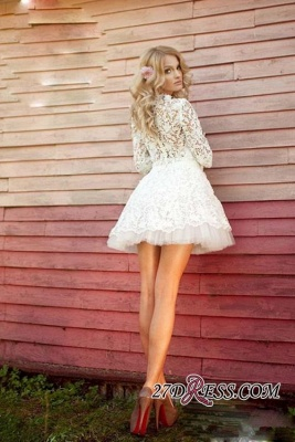Sheer 3D-Floral Half-Sleeves Short Appliques Sexy Wedding Dresses_3
