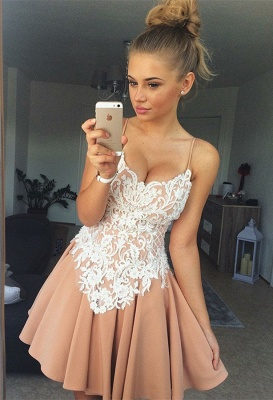 Spaghetti-Straps 2020 Homecoming Dress | 2020 Lace Short Party Dress_1