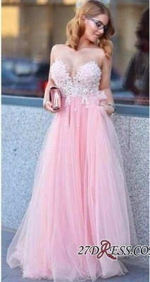 Tulle Sleeveless A-line Lace-Appliques Newest Prom Dress_2