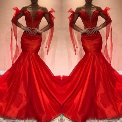Red Off-the-Shoulder Evening Dress | 2020 Mermaid Prom Party Gowns_3