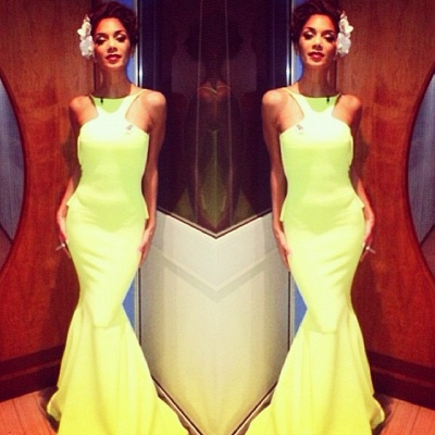 Sexy Backless Yellow Mermaid Prom Dresses 2020 Sleeveless Spaghetti Straps Evening Gowns BK0_2