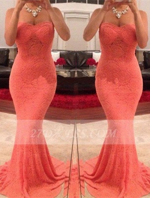 Mermaid Sweetheart Evening Dresses Sleeveless Sweep Train Party Gowns_1