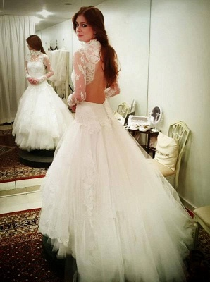Sexy High Neck Lace Appliques Wedding Dress 2020 Tulle Mermaid Long Sleeve_1