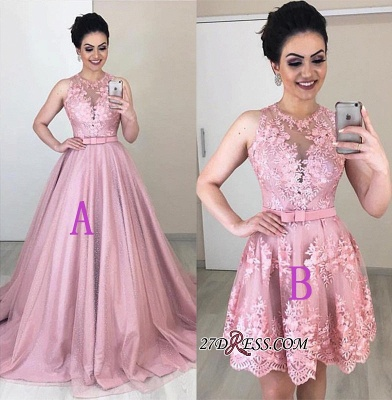 Jewel Alluring Prom Appliques Belted A-line Homecoming Dresses_2