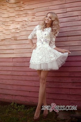 Sheer 3D-Floral Half-Sleeves Short Appliques Sexy Wedding Dresses_2