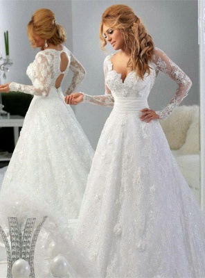 Arabic Long Sleeve Lace Appliques Bridal Gowns Sweetheart_1