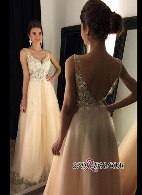 2020 V-Neck Champagne Open-Back Lace A-line Long Beaded Prom Dresses BA4046_2