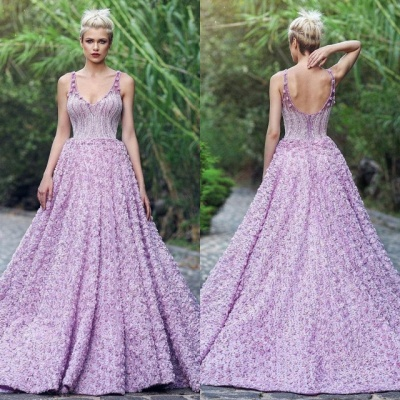Elegant V-Neck Sleeveless 2020 Evening Gowns | Princess Appliques Prom Dress With Zipper_4