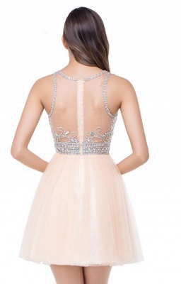 Elegant Beadings Crystal Short Prom Dress Chiffon Homecoming Gown_7