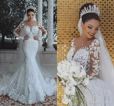 Glamorous Long Sleeve Lace Wedding Dress | 2020 Mermaid Bridal Gowns On Sale_4
