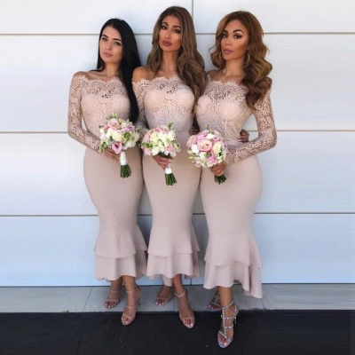 Hot Sale Long Sleeve Bridesmaid Dress | 2020 Lace Maid of Honor Dress_3