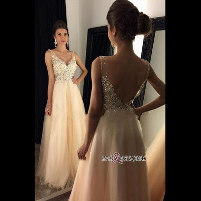 2020 V-Neck Champagne Open-Back Lace A-line Long Beaded Prom Dresses BA4046_1