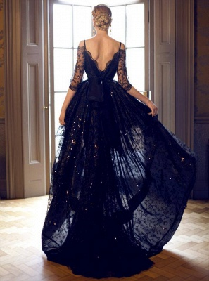 Gorgeous Hi-Lo Off-the-Shoulder Lace Half-Sleeve Evening Prom Dress_2