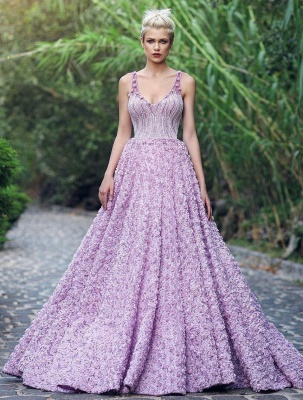Elegant V-Neck Sleeveless 2020 Evening Gowns | Princess Appliques Prom Dress With Zipper_1