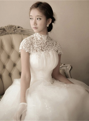 Elegant Tulle Lace Appliques 2020 Wedding Dress High Neck Ball Gown_6